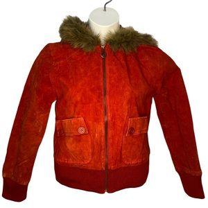 Dollhouse Red Leather Jacket Fur Trim Hood Large